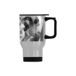 contemporary geometric polygon abstract pattern in black and white Travel Mug (Silver) (14 Oz)