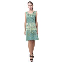 Vintage Roses Polka Dots Ribbon - Teal Gold Chryseis Sleeveless Pleated Dress(Model D07)