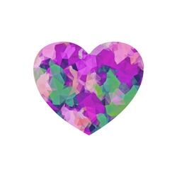 psychedelic geometric polygon pattern abstract in pink purple green Heart-shaped Mousepad