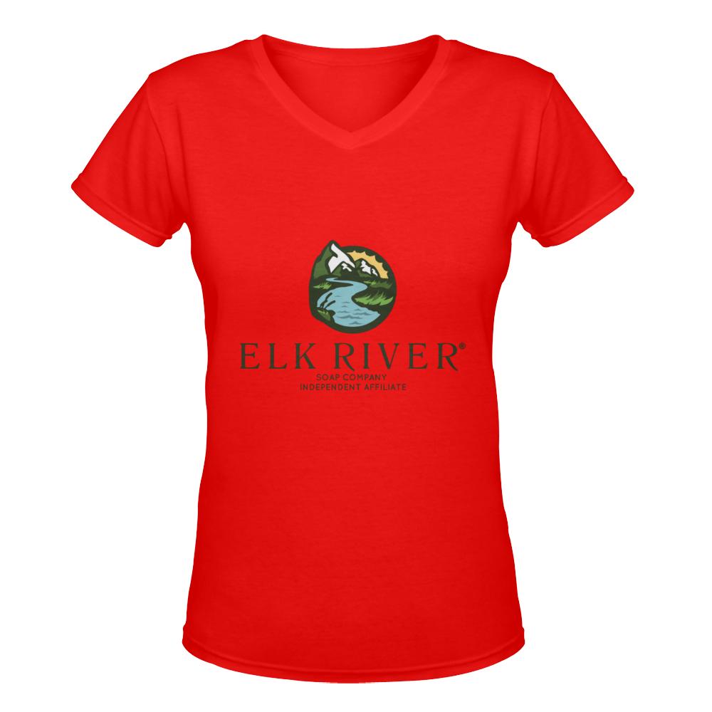 Elk River Affiliate Red Women's Deep V-neck T-shirt (Model T19)