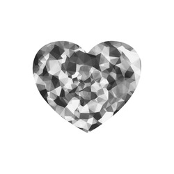 contemporary geometric polygon abstract pattern in black and white Heart-shaped Mousepad