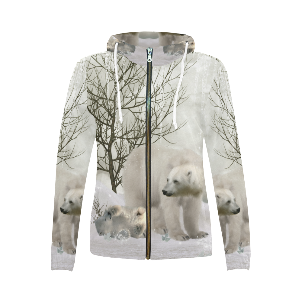 Awesome polar bear All Over Print Full Zip Hoodie for Women (Model H14)