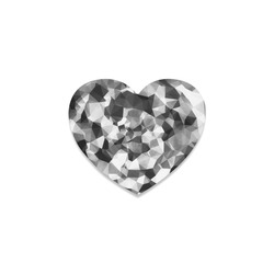 contemporary geometric polygon abstract pattern in black and white Heart Coaster