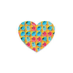geometric polygon abstract pattern in blue orange red Heart Coaster