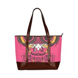 funny skull and bone graffiti drawing in orange brown and pink Tote Handbag (Model 1642)