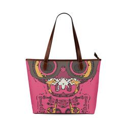 funny skull and bone graffiti drawing in orange brown and pink Shoulder Tote Bag (Model 1646)