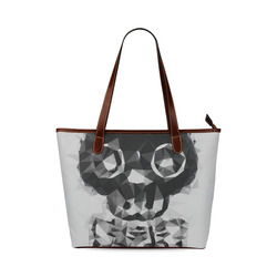 psychedelic skull and bone art geometric triangle abstract pattern in black and white Shoulder Tote Bag (Model 1646)