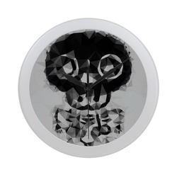 psychedelic skull and bone art geometric triangle abstract pattern in black and white Circular Plastic Wall clock
