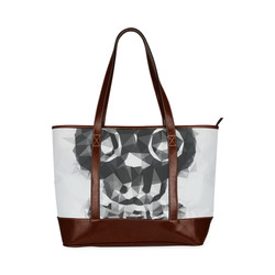 psychedelic skull and bone art geometric triangle abstract pattern in black and white Tote Handbag (Model 1642)