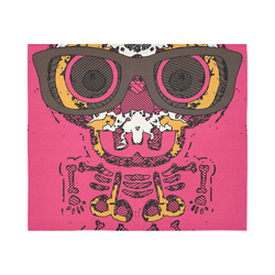 """funny skull and bone graffiti drawing in orange brown and pink Cotton Linen Wall Tapestry 60""""x 51"""""""