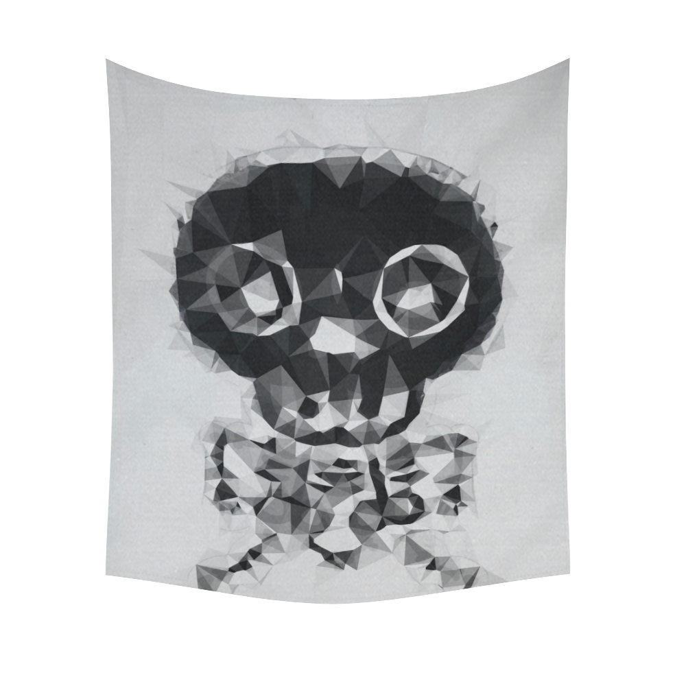 """psychedelic skull and bone art geometric triangle abstract pattern in black and white Cotton Linen Wall Tapestry 51""""x 60"""""""