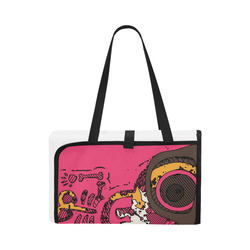 funny skull and bone graffiti drawing in orange brown and pink Portable & Foldable Mat 60''x78''