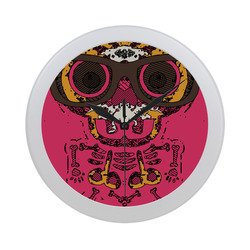 funny skull and bone graffiti drawing in orange brown and pink Circular Plastic Wall clock