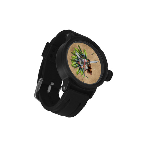 Amazing skull with feathers and flowers Men's Sports Watch(Model 309)