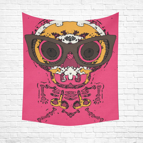 "funny skull and bone graffiti drawing in orange brown and pink Cotton Linen Wall Tapestry 51""x 60"""