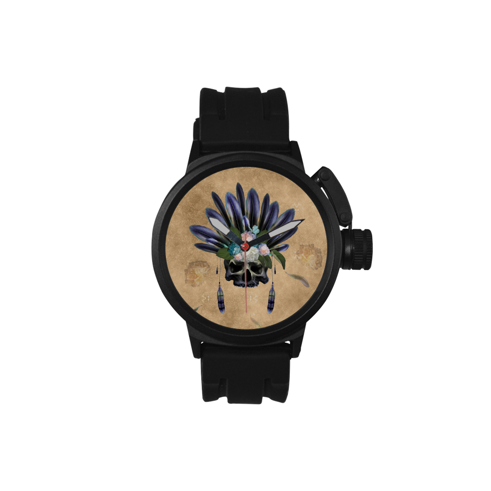 Cool skull with feathers and flowers Men's Sports Watch(Model 309)