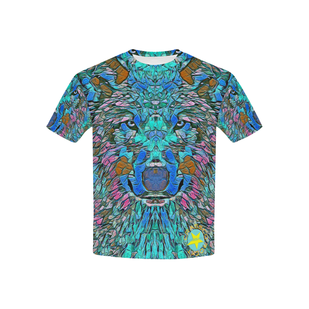 WOLF IN BLUE ART Kids' All Over Print T-shirt (USA Size) (Model T40)