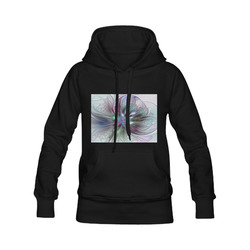 Colorful Fantasy Abstract Modern Fractal Flower Women's Classic Hoodies (Model H07)