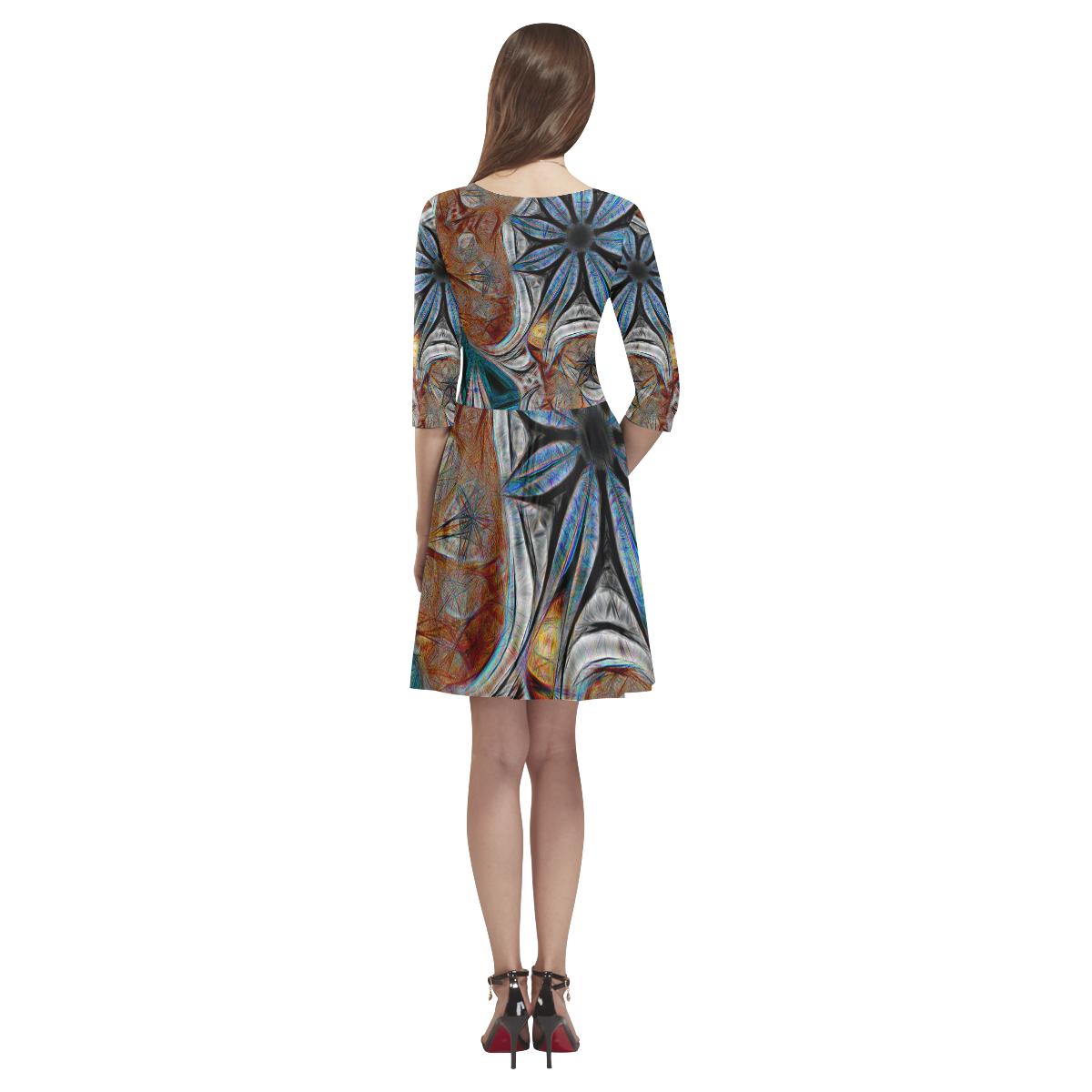 All seasons Tethys Half-Sleeve Skater Dress(Model D20)
