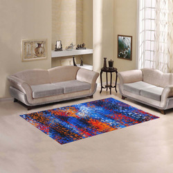 psychedelic geometric polygon shape pattern abstract in blue red orange Area Rug 5'x3'3''
