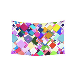 "Colorful Squares Geometric Pattern Cotton Linen Wall Tapestry 60""x 40"""