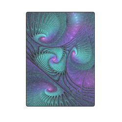 """Purple meets Turquoise modern abstract Fractal Art Blanket 58""""x80"""""""