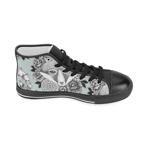woodlands - fox and flowers pattern Women's Classic High Top Canvas Shoes (Model 017)