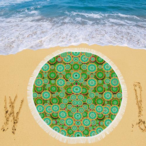 "Flowers In mind In happy soft Summer Time Circular Beach Shawl 59""x 59"""