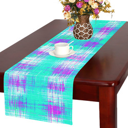 plaid pattern graffiti painting abstract in blue green and pink Table Runner 16x72 inch