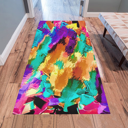 psychedelic splash painting texture abstract background in pink green purple yellow brown Area Rug 7'x3'3''
