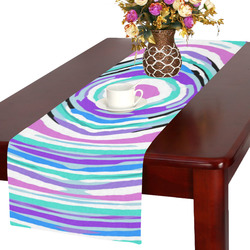 psychedelic graffiti circle pattern abstract in pink blue purple Table Runner 16x72 inch