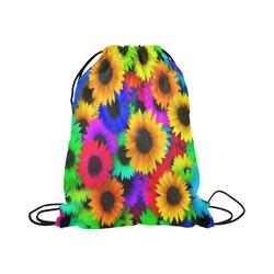 "Neon Rainbow Pop Sunflowers Large Drawstring Bag Model 1604 (Twin Sides)  16.5""(W) * 19.3""(H)"