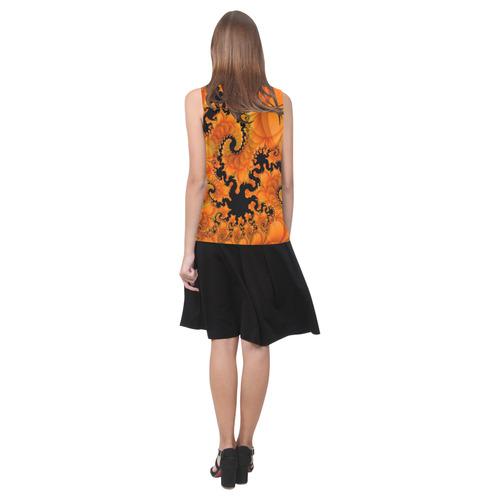 Orange Tres Sleeveless Splicing Shift Dress(Model D17)