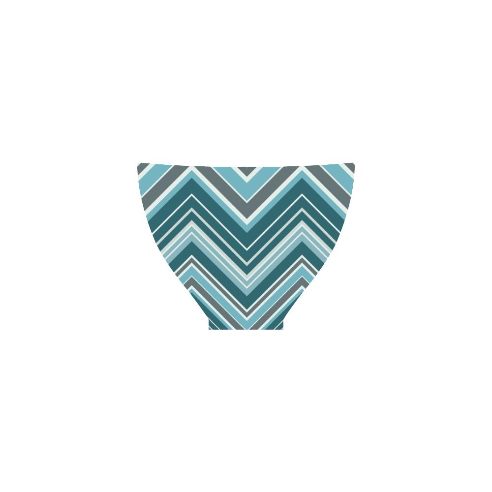 Turquoise Chevron Pattern Bikini Custom Bikini Swimsuit
