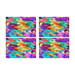 psychedelic splash painting texture abstract background in pink green purple yellow brown Placemat 12'' x 18'' (Four Pieces)