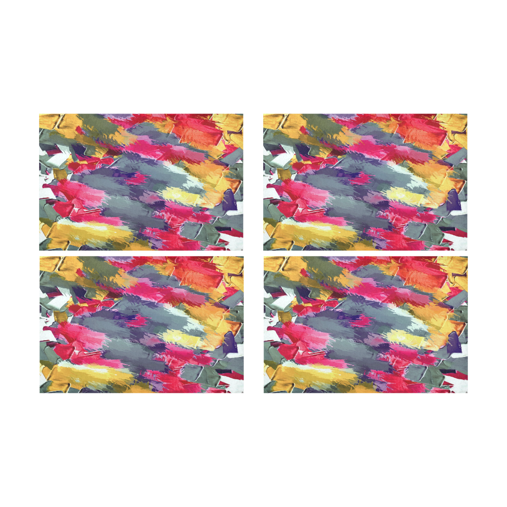splash painting texture abstract background in red purple yellow Placemat 12'' x 18'' (Four Pieces)