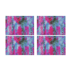vintage psychedelic painting texture abstract in pink and blue with noise and grain Placemat 12'' x 18'' (Four Pieces)