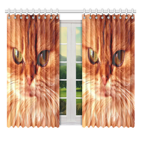 "Orange Cat Window Curtain 52"" x 63""(One Piece)"