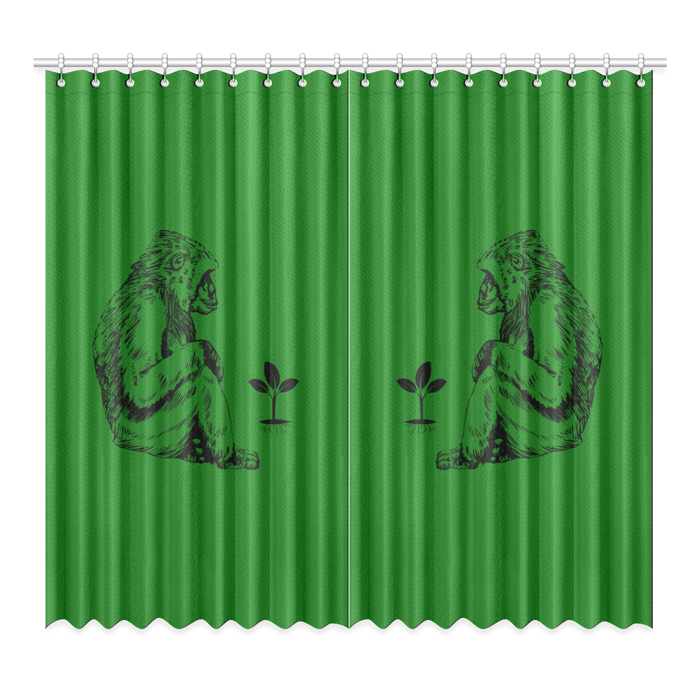 """GORILLA AND PLANT Window Curtain 52""""x96""""(Two Piece)"""