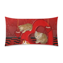 "Cute kitten with hearts Rectangle Pillow Case 20""x36""(Twin Sides)"