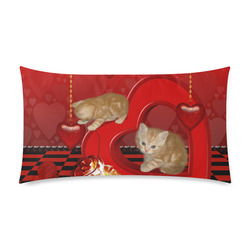 "Cute kitten with hearts Custom Rectangle Pillow Case 20""x36"" (one side)"