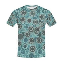 Transparent fun circles in blue - retro aqua All Over Print T-Shirt for Men (USA Size) (Model T40)