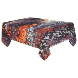 """psychedelic geometric polygon shape pattern abstract in black orange brown red Cotton Linen Tablecloth 60""""x 104"""""""