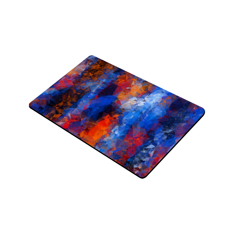 "psychedelic geometric polygon shape pattern abstract in red orange blue Doormat 30""x18"""