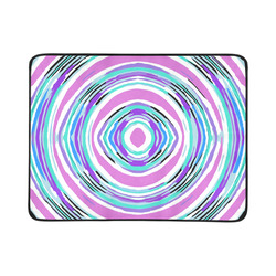 """psychedelic graffiti circle pattern abstract in pink blue purple Beach Mat 78""""x 60"""""""