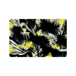 """black and white palm leaves with yellow background Doormat 24"""" x 16"""""""