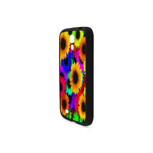 Neon Rainbow Pop Sunflowers Rubber Case for Samsung Galaxy S4