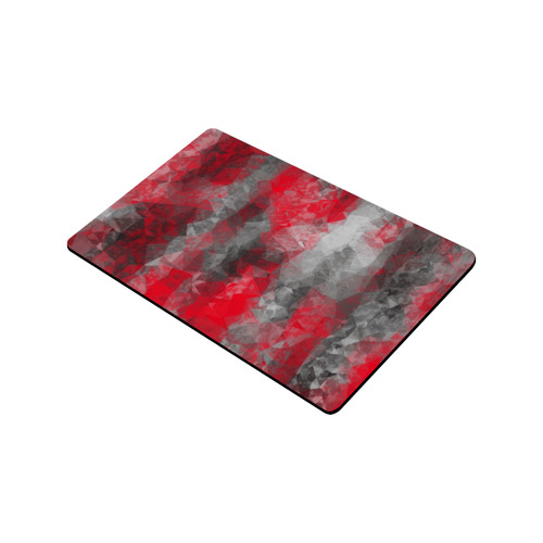 """psychedelic geometric polygon shape pattern abstract in red and black Doormat 30""""x18"""""""