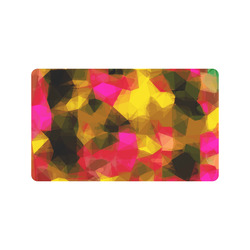 "psychedelic geometric polygon shape pattern abstract in pink yellow green Doormat 30""x18"""