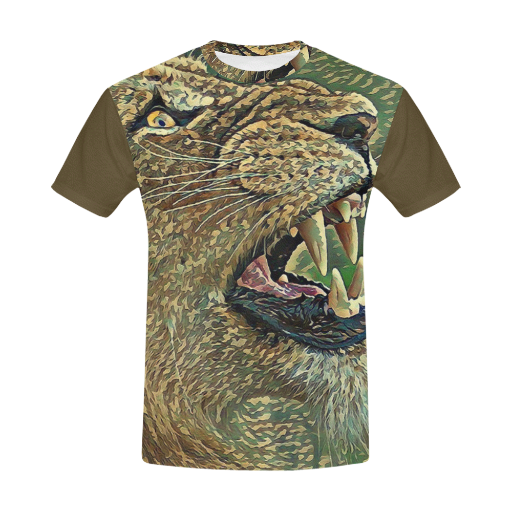 CAMOUFLAGE LION OR LIONESS II All Over Print T-Shirt for Men (USA Size) (Model T40)